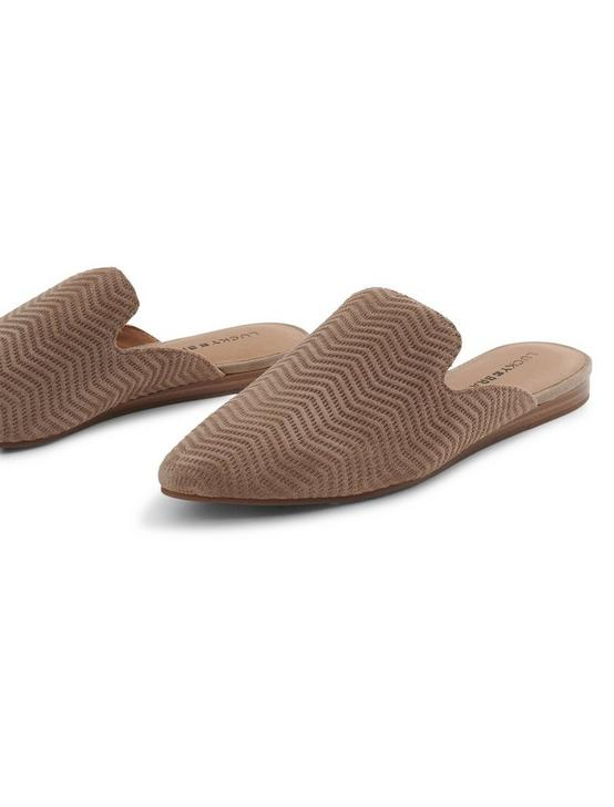 BRYNNUH LEATHER FLAT SLIDES, DARK BROWN, productTileDesktop