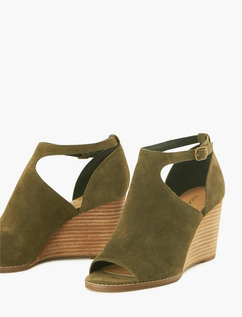 SIDE CUTOUT WEDGE HEEL, LIGHT GREEN