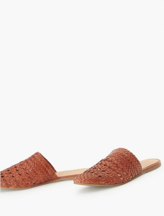 SALT + UMBER LILY LEATHER FLAT SLIDES, LIGHT BROWN, productTileDesktop