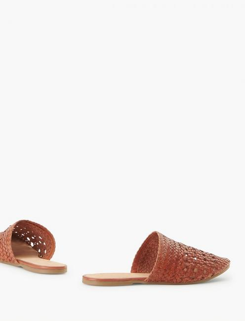 SALT + UMBER LILY LEATHER FLAT SLIDES, LIGHT BROWN