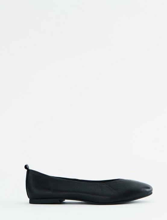 SALT + UMBER RAJA LEATHER FLAT SLIDES, BLACK, productTileDesktop