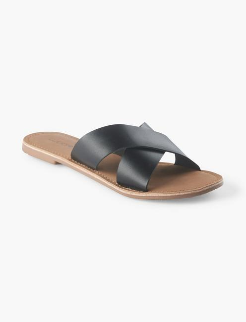 TAYLOR LEATHER SLIDE SANDAL, BLACK