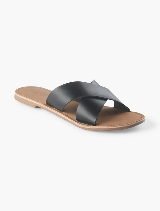 TAYLOR LEATHER SLIDE SANDAL, BLACK, productTileDesktop