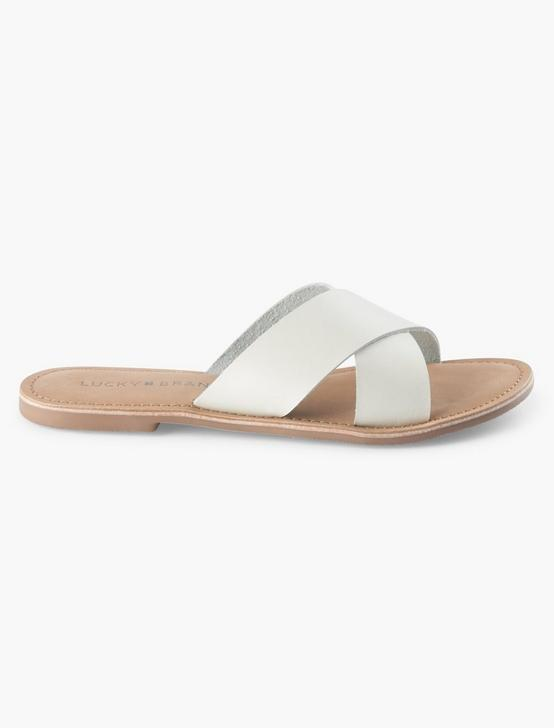 TAYLOR LEATHER SLIDE SANDAL, NATURAL, productTileDesktop