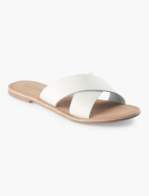 TAYLOR LEATHER SLIDE SANDAL, WHITE
