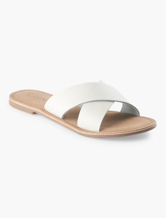 TAYLOR LEATHER SLIDE SANDAL, WHITE, productTileDesktop