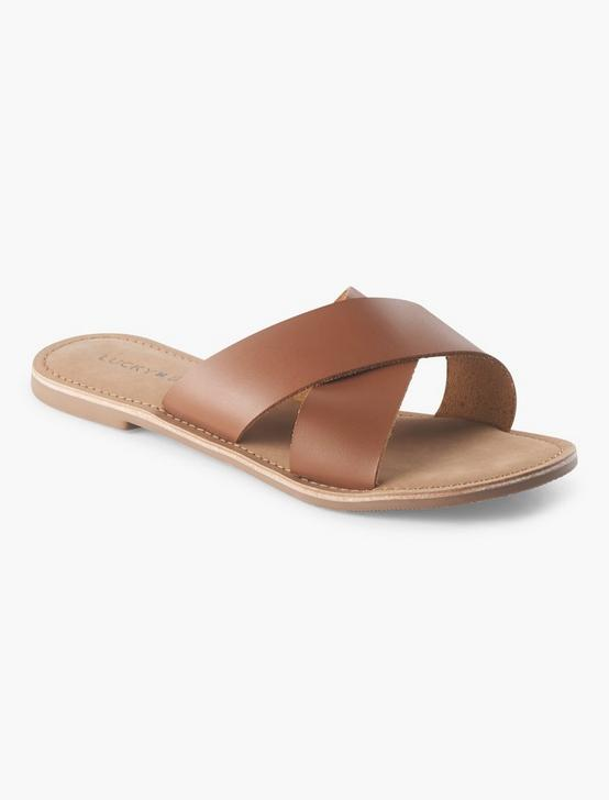 TAYLOR LEATHER SLIDE SANDAL, RUST BROWN, productTileDesktop
