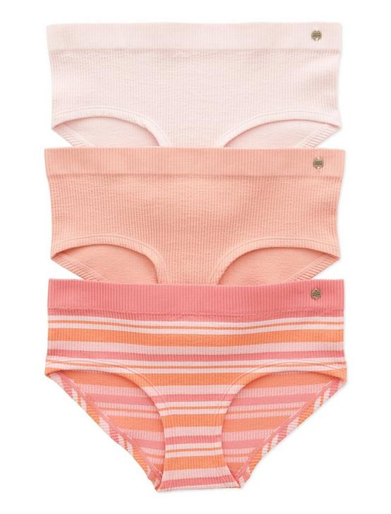 3 PACK SEAMLESS MULTI STRIPE PANTIE, CORAL ORANGE, productTileDesktop