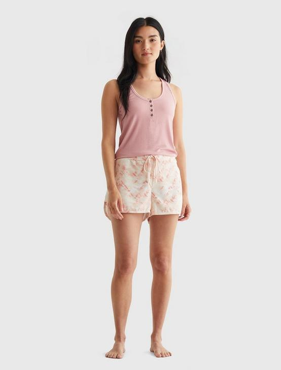 STRETCH RIB HENLEY TANK AND TERRY SLEEPWEAR SET, CORAL PINK, productTileDesktop