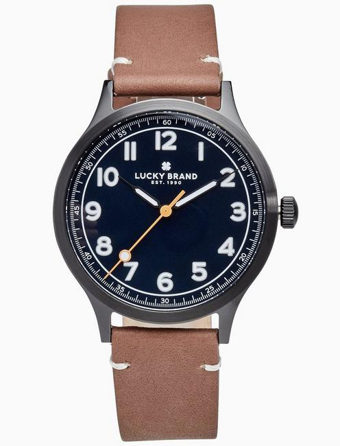 JEFFERSON BROWN LEATHER WATCH, 38MM, BLACK