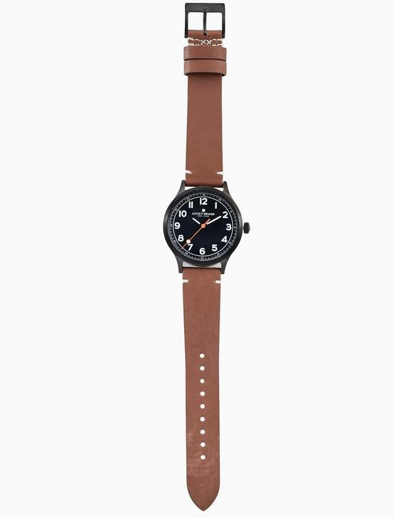 JEFFERSON BROWN LEATHER WATCH, 38MM, BLACK, productTileDesktop