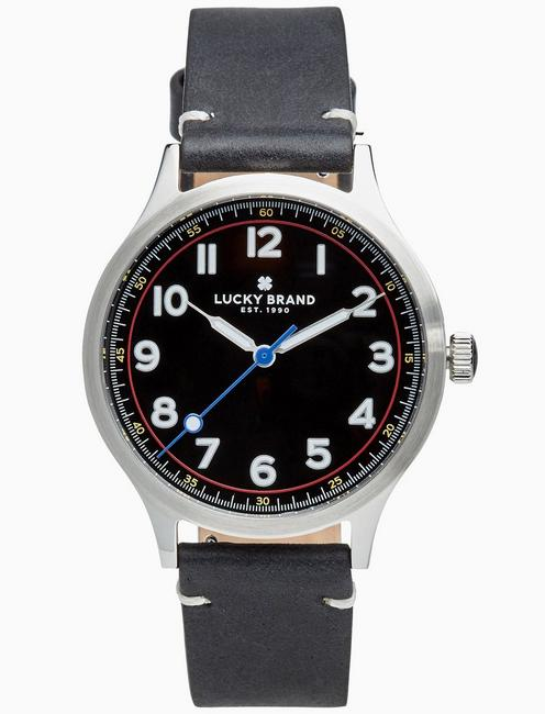 Lucky Jefferson Black Leather Watch, 38mm