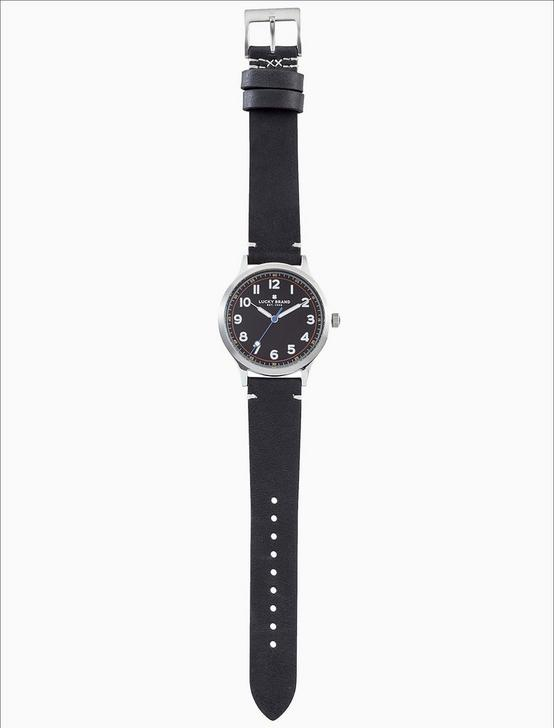JEFFERSON BLACK LEATHER WATCH, 38MM, SILVER, productTileDesktop