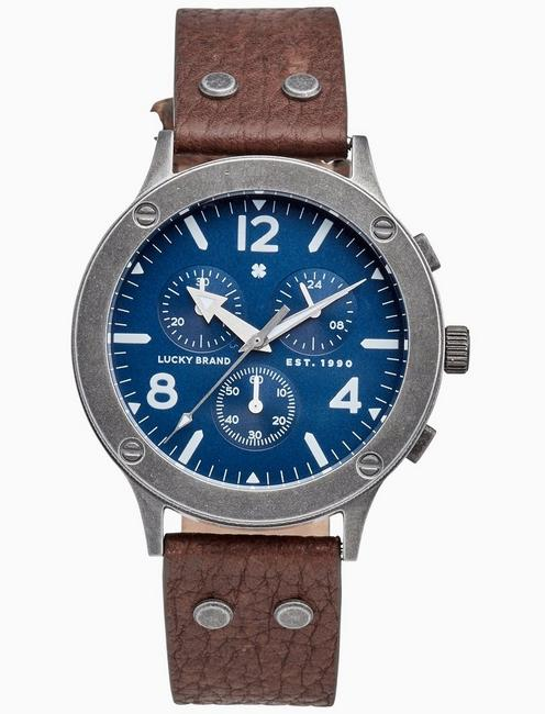 Lucky Rockpoint Multi-Function Brown Leather Watch, 42mm