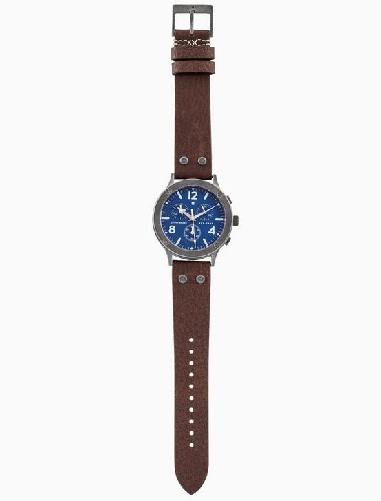 ROCKPOINT MULTI-FUNCTION BROWN LEATHER WATCH, 42MM, SILVER, productTileDesktop