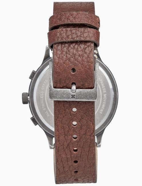 ROCKPOINT MULTI-FUNCTION BROWN LEATHER WATCH, 42MM, SILVER