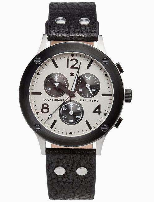 Lucky Rockpoint Multi-Function Black Leather Watch, 42mm