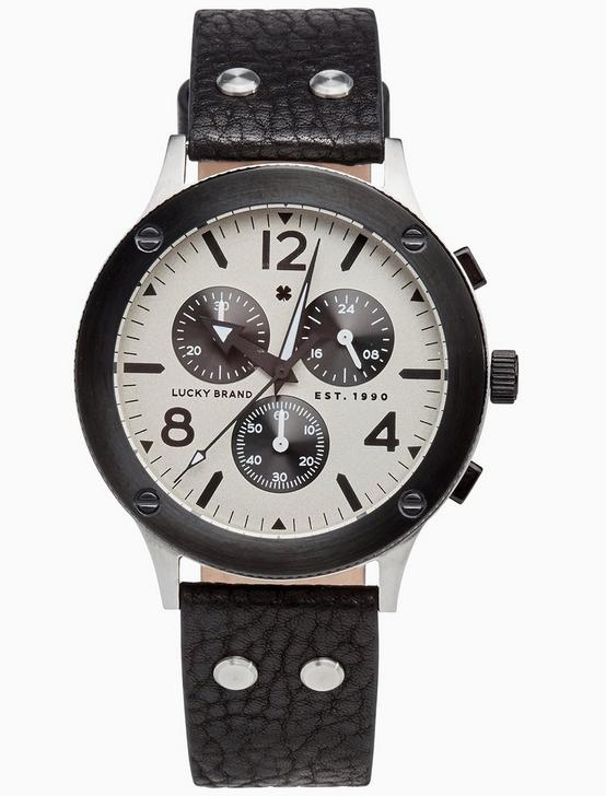 ROCKPOINT MULTI-FUNCTION BLACK LEATHER WATCH, 42MM, TWO TONE, productTileDesktop