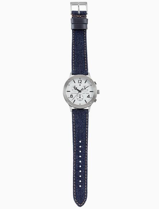 ROCKPOINT MULTI-FUNCTION DENIM WATCH, 42MM, SILVER, productTileDesktop
