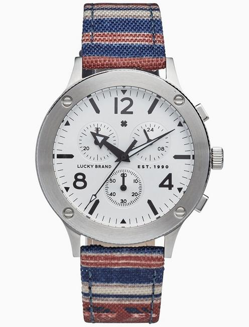 Lucky Rockpoint Stripe Multi-Function Watch, 42mm
