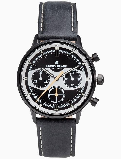 Lucky Fairfax Racing Black Leather Watch, 40mm