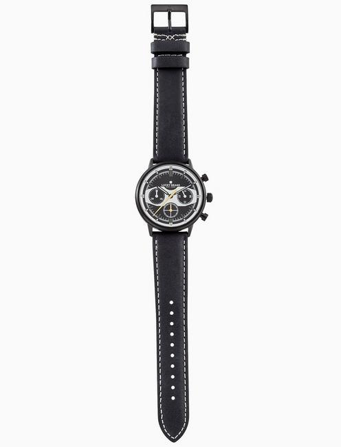 FAIRFAX RACING BLACK LEATHER WATCH, 40MM, BLACK