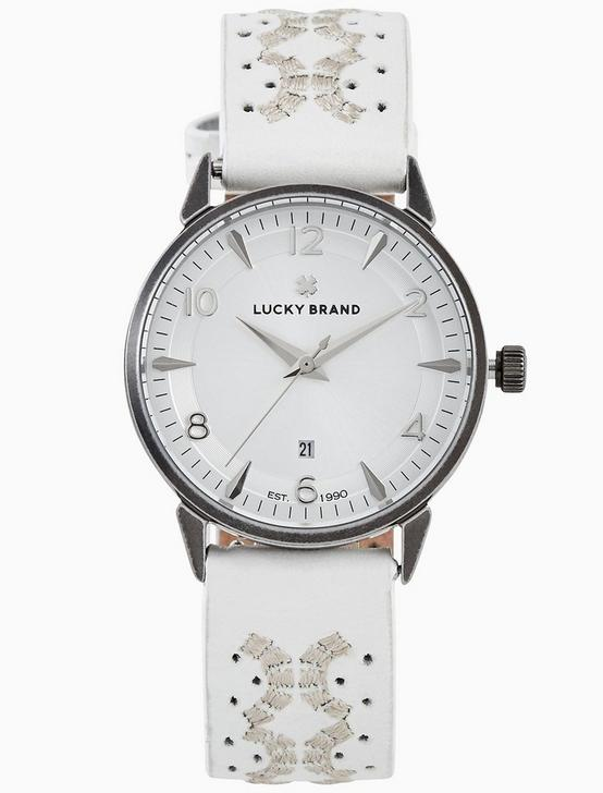 TORREY WHITE EMBROIDERED WATCH, 34MM, SILVER, productTileDesktop