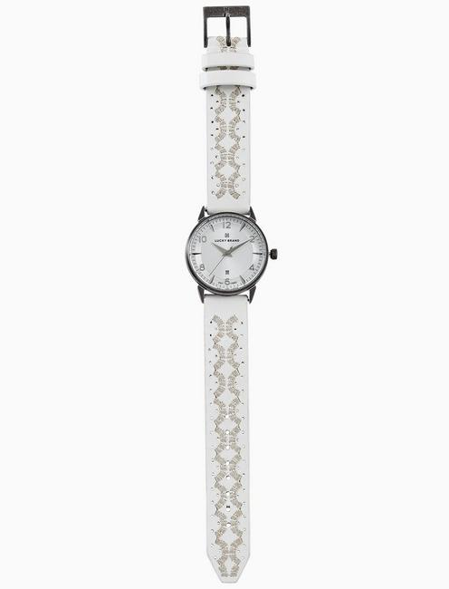 TORREY WHITE EMBROIDERED WATCH, 34MM, SILVER