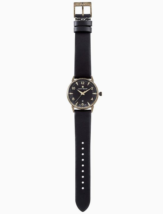 TORREY BLACK LEATHER WATCH, 34MM, GOLD, productTileDesktop