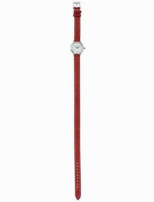 TORREY MINI RED WRAP WATCH, 28MM, SILVER