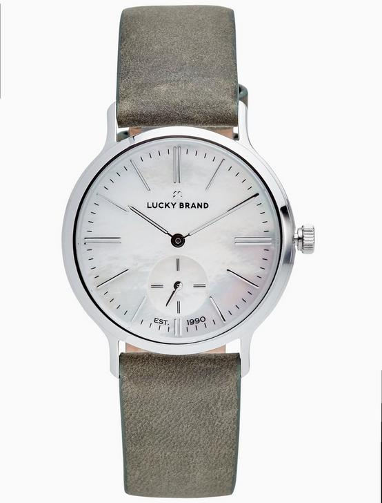 VENTANA OLIVE LEATHER WATCH, 34MM, SILVER, productTileDesktop