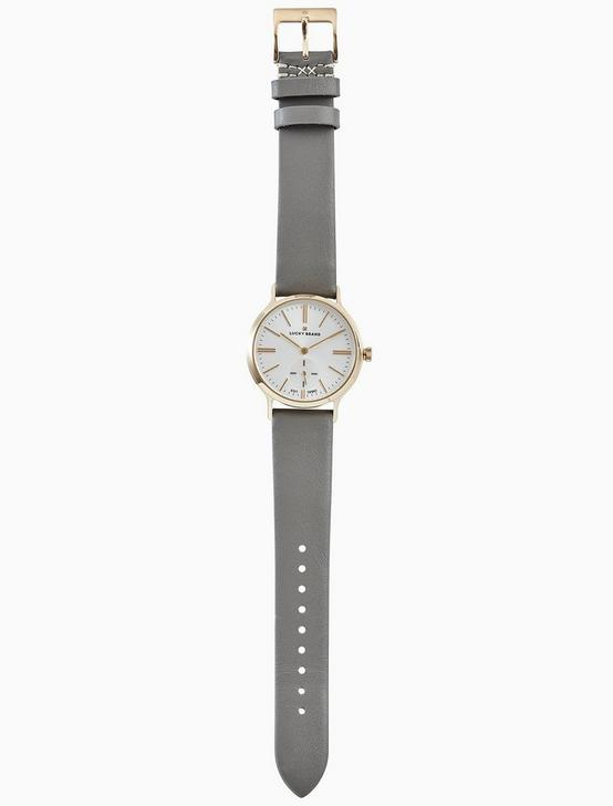 VENTANA GREY LEATHER WATCH, 34MM, GOLD, productTileDesktop