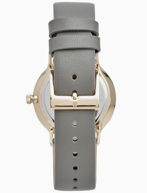 VENTANA GREY LEATHER WATCH, 34MM, GOLD