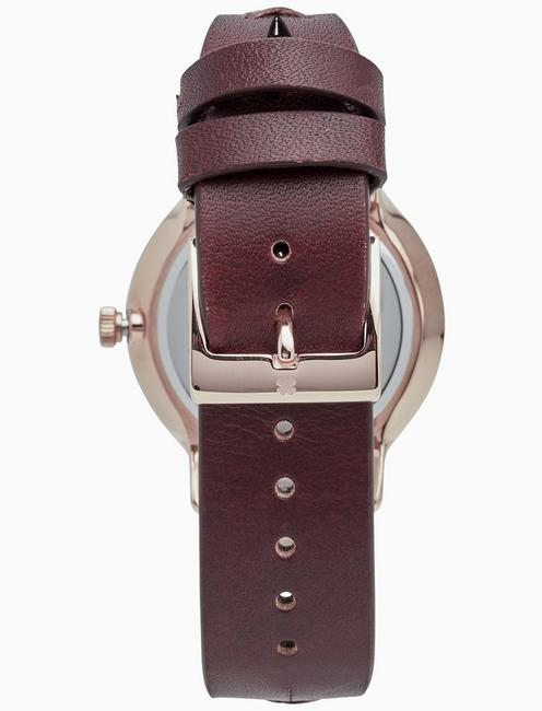 VENTANA BROWN CUT OUT WATCH, 34MM, BRIGHT PINK