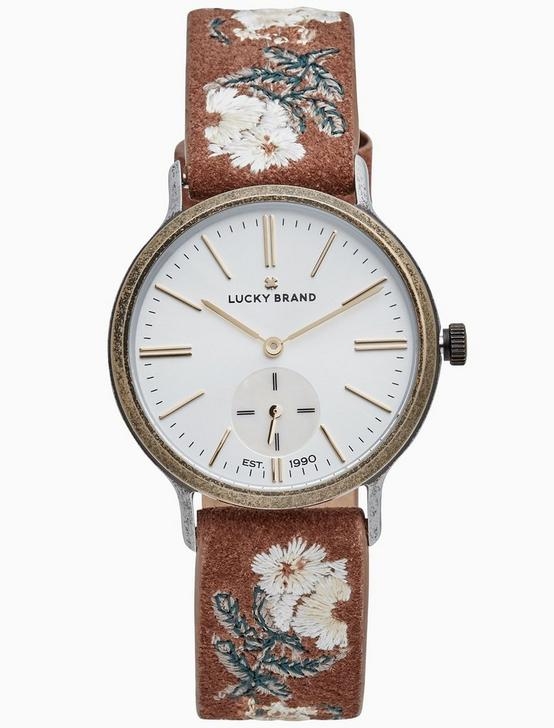 VENTANA TAN EMBROIDERED WATCH, 34MM, TWO TONE, productTileDesktop