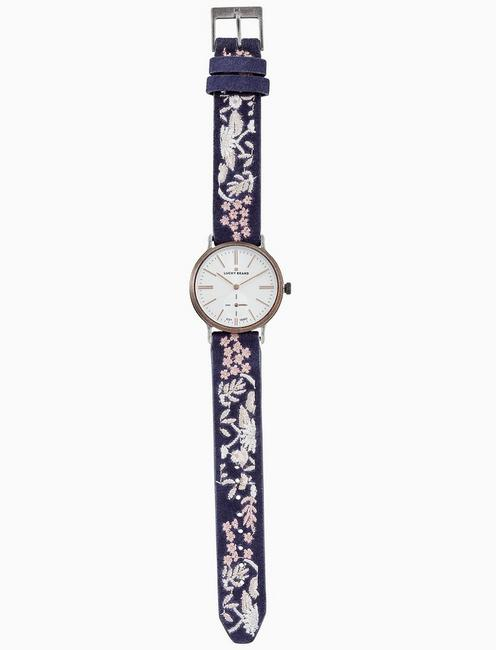 VENTANA TAN EMBROIDERED WATCH, 34MM, TWO TONE