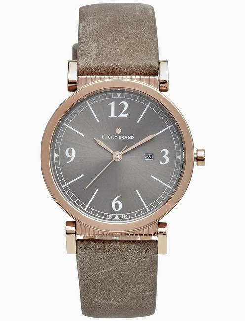 Lucky Carmel Taupe Leather Watch, 34mm