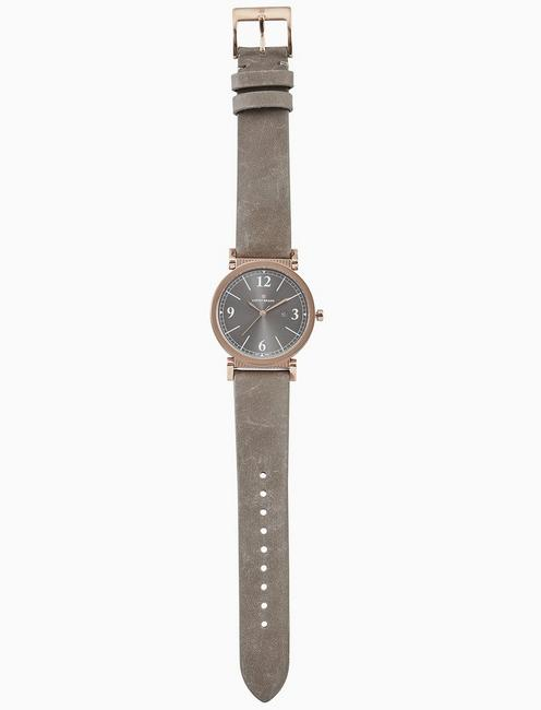CARMEL TAUPE LEATHER WATCH, 34MM, BRIGHT PINK