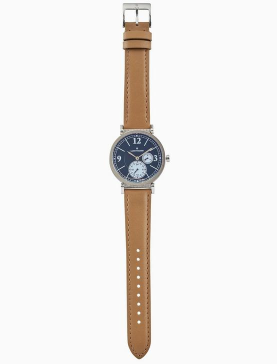 CARMEL BOYFRIEND TAN LEATHER WATCH, 38MM, SILVER, productTileDesktop