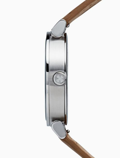 CARMEL BOYFRIEND TAN LEATHER WATCH, 38MM, SILVER