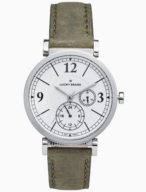 Lucky Carmel Boyfriend Olive Leather Watch, 38mm