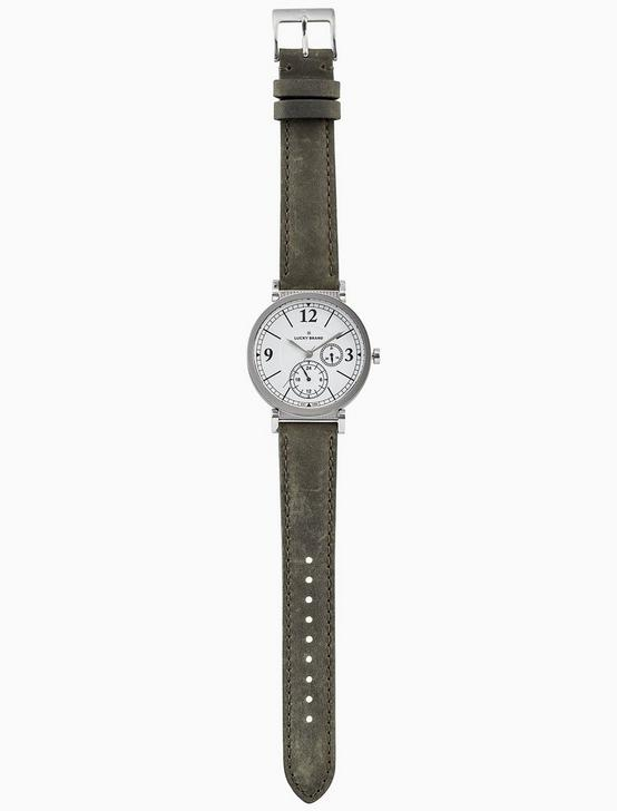 CARMEL BOYFRIEND OLIVE LEATHER WATCH, 38MM, SILVER, productTileDesktop