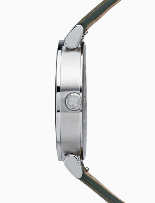 CARMEL BOYFRIEND OLIVE LEATHER WATCH, 38MM, SILVER