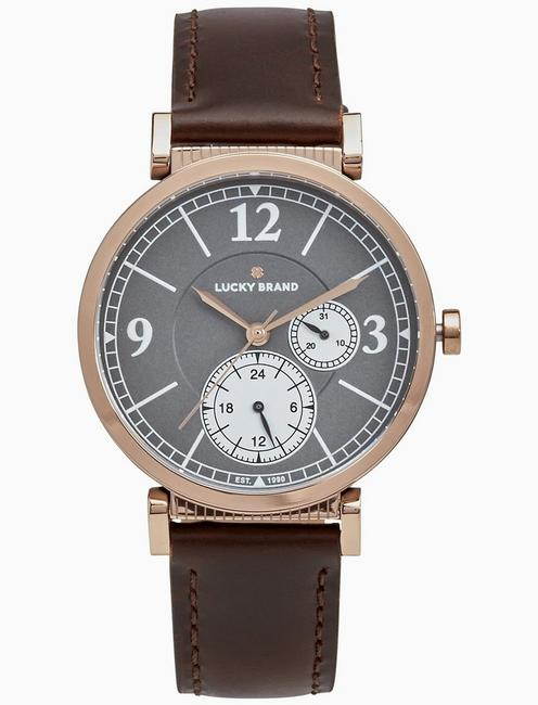Lucky Carmel Boyfriend Chocolate Leather Watch, 38mm