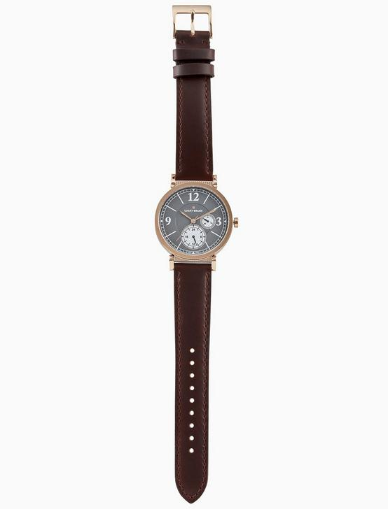 CARMEL BOYFRIEND CHOCOLATE LEATHER WATCH, 38MM, BRIGHT PINK, productTileDesktop