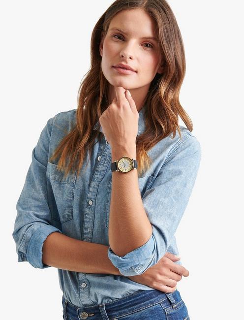 Carmel Navy Leather Watch, GOLD