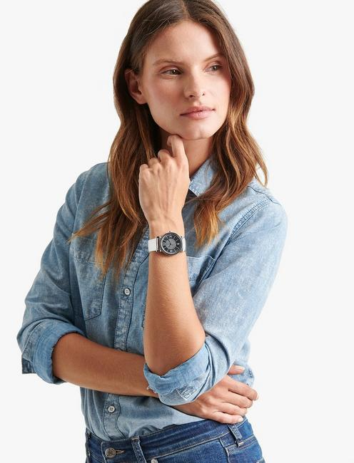 Carmel Metallic Leather Watch, SILVER