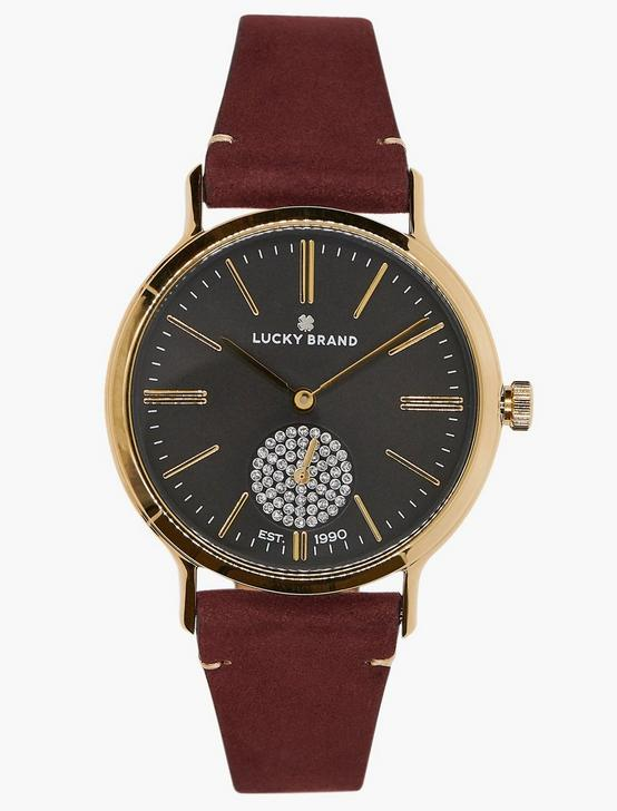Ventana Berry Leather Watch, GOLD, productTileDesktop