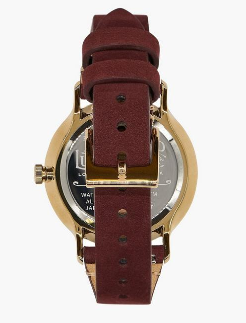 Ventana Berry Leather Watch, GOLD