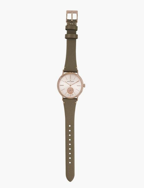 Ventana Light Grey Leather Watch, BRIGHT PINK